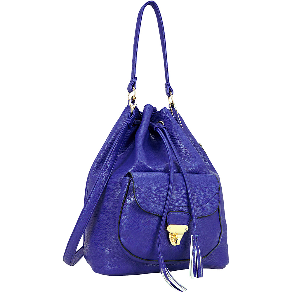 Dasein Front Pocket Convertible Drawstring Bag Royal Blue - Dasein Manmade Handbags - Handbags, Manmade Handbags