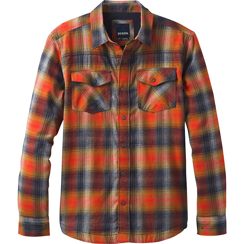 PrAna Asylum Flannel Shirt L - Atomic Orange - PrAna Mens Apparel - Apparel & Footwear, Men's Apparel