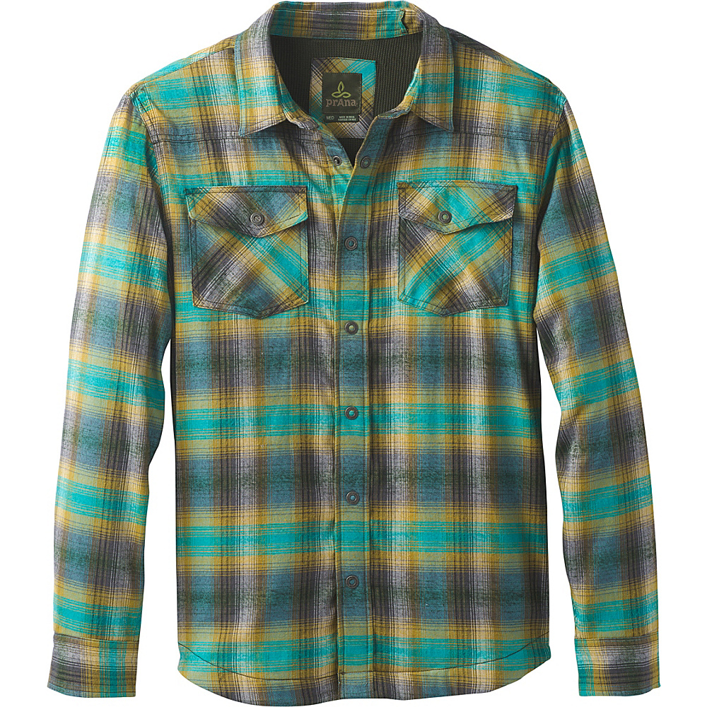 PrAna Asylum Flannel Shirt L - Safari - PrAna Mens Apparel - Apparel & Footwear, Men's Apparel