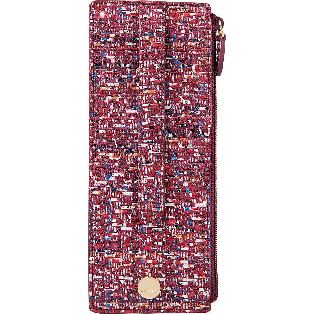Lodis Tweetable Tweed RFID Credit Card Case with Zipper Pocket Brick - Lodis Womens Wallets - Women's SLG, Women's Wallets