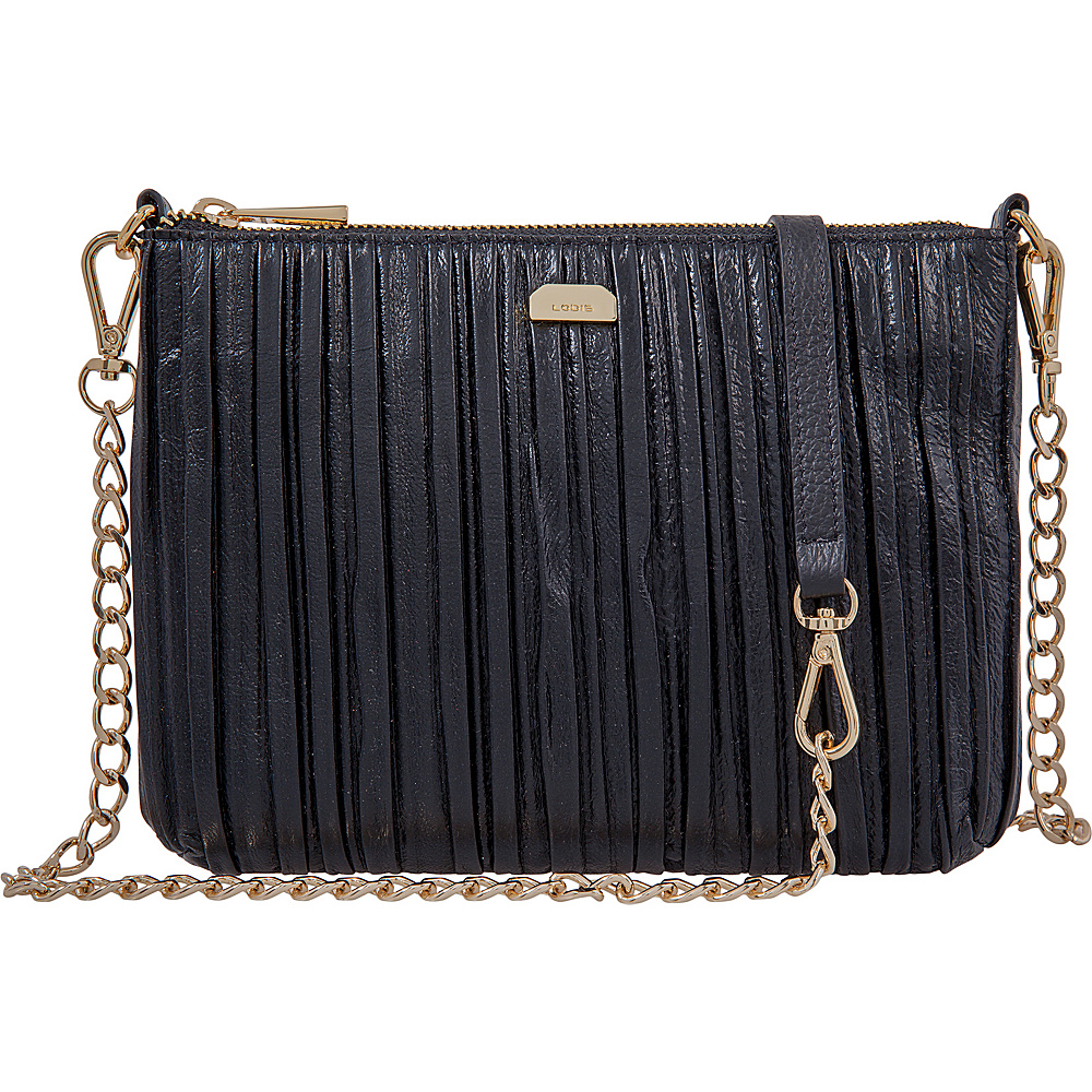Lodis Pleasantly Pleated RFID Emily Clutch Crossbody Black - Lodis Leather Handbags - Handbags, Leather Handbags