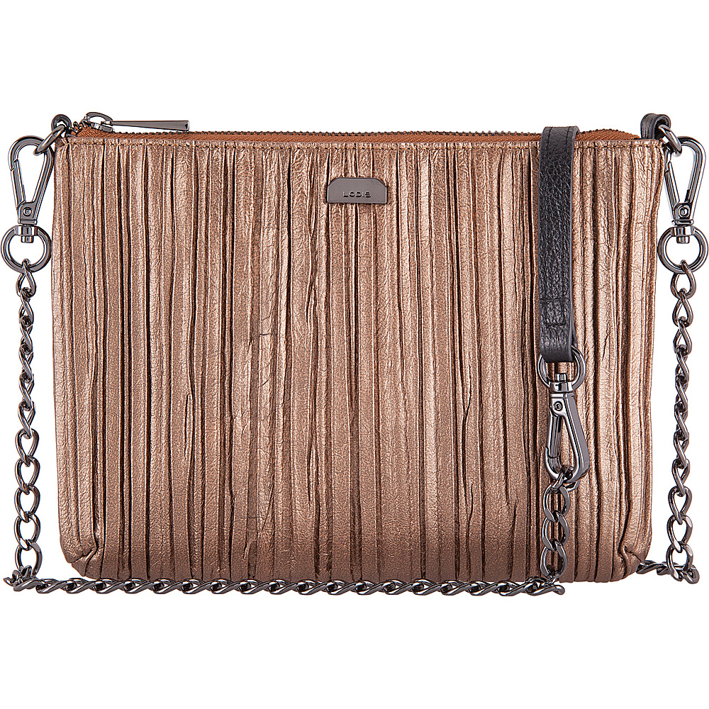Lodis Pleasantly Pleated RFID Emily Clutch Crossbody Copper - Lodis Leather Handbags - Handbags, Leather Handbags