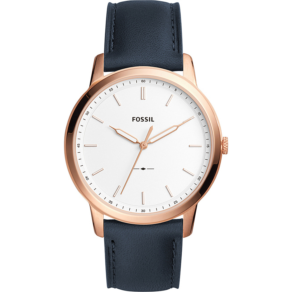 Fossil The Minimalist Three-Hand Navy Leather Watch Blue - Fossil Watches - Fashion Accessories, Watches