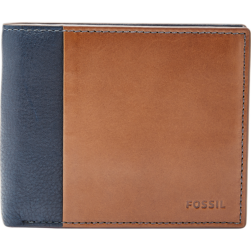 Fossil Ward RFID Large Coin Pocket Bifold Navy - Fossil Mens Wallets - Work Bags & Briefcases, Men's Wallets