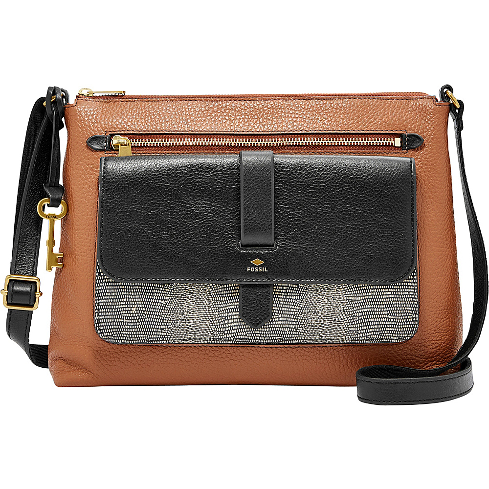Fossil Kinley Crossbody Black/Brown - Fossil Leather Handbags - Handbags, Leather Handbags