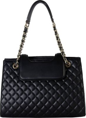 Rimen & Co Large Quilted Tote with Chain Handle Black - Rimen & Co Manmade Handbags