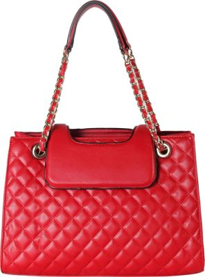 Rimen & Co Large Quilted Tote with Chain Handle Red - Rimen & Co Manmade Handbags