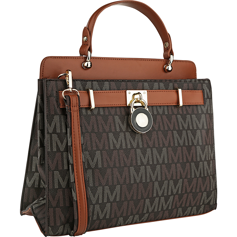 MKF Collection by Mia K. Farrow Blayna M Signature Satchel Brown - MKF Collection by Mia K. Farrow Manmade Handbags - Handbags, Manmade Handbags