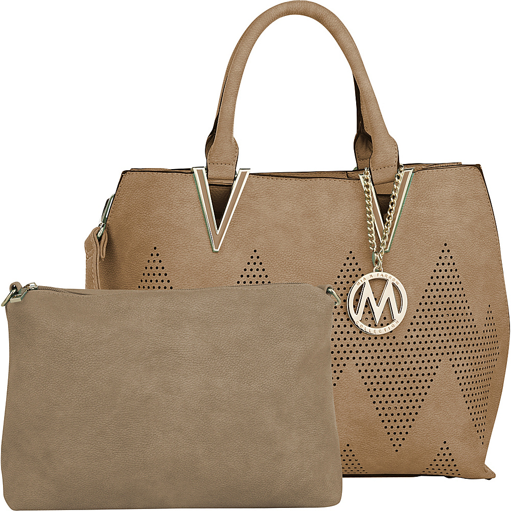 MKF Collection by Mia K. Farrow Mercy 2 in 1 Satchel Khaki - MKF Collection by Mia K. Farrow Manmade Handbags - Handbags, Manmade Handbags