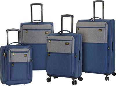 LEE Lee 4 Piece Expandable Softside Luggage Set Blue/Gray - LEE Luggage Sets