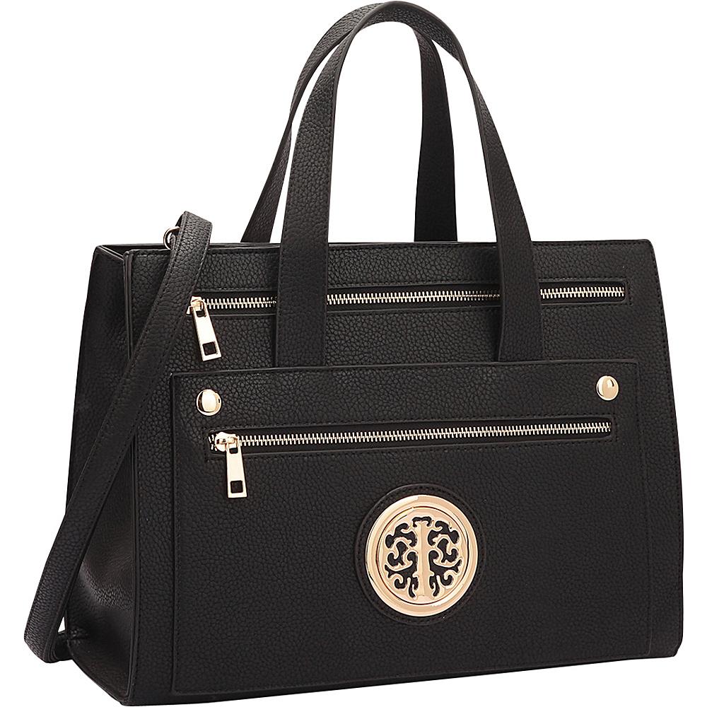 Dasein Gold-Tone  Work Satchel Black - Dasein Manmade Handbags - Handbags, Manmade Handbags