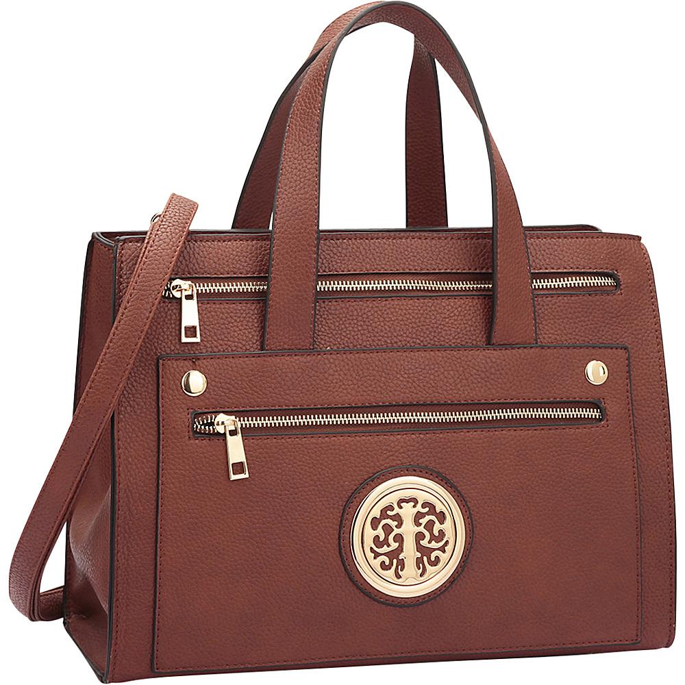 Dasein Gold-Tone  Work Satchel Brown - Dasein Manmade Handbags - Handbags, Manmade Handbags