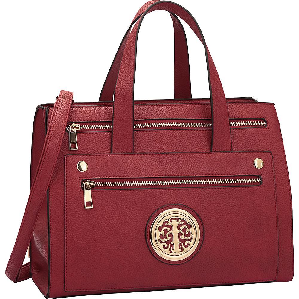 Dasein Gold-Tone  Work Satchel Red - Dasein Manmade Handbags - Handbags, Manmade Handbags
