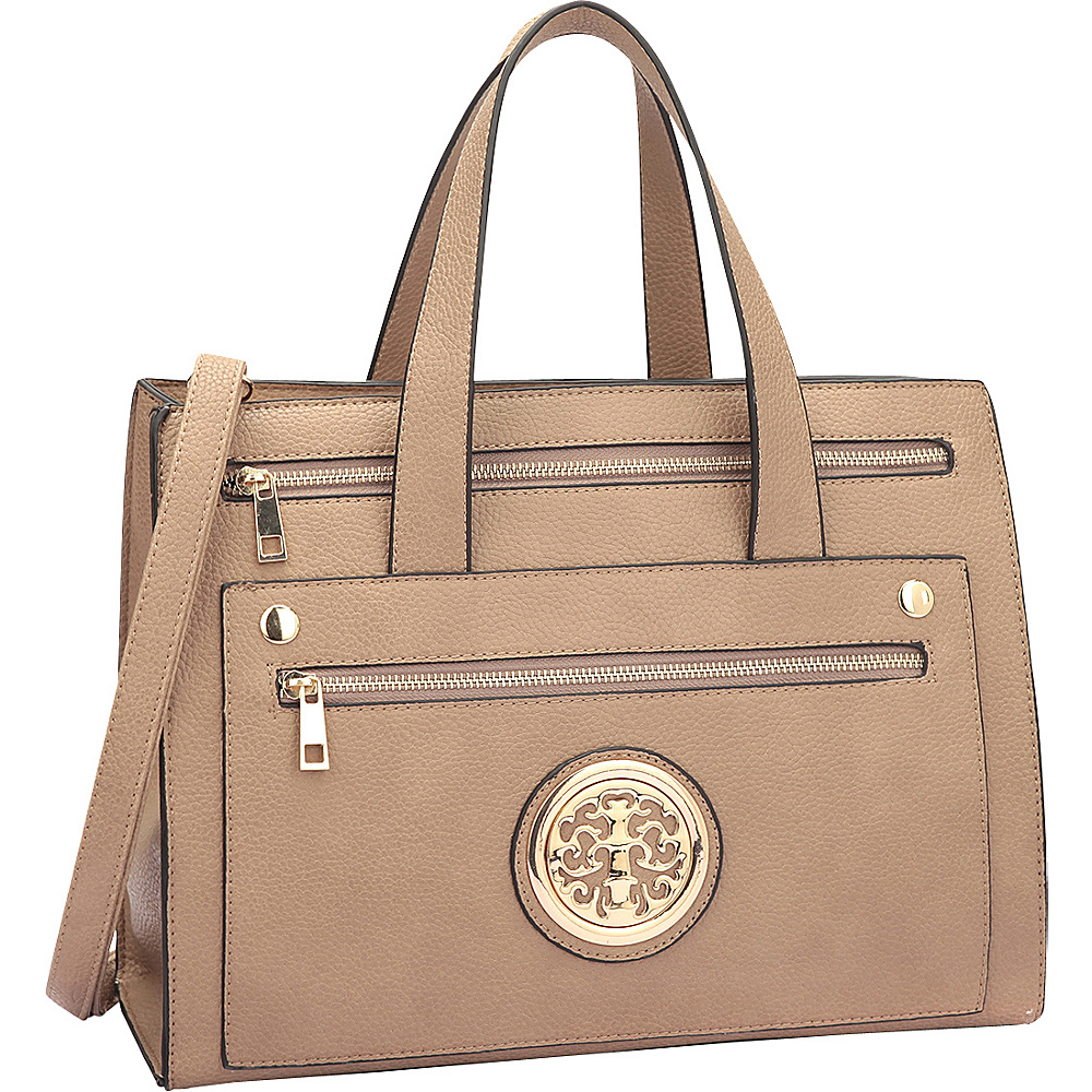 Dasein Gold-Tone  Work Satchel Stone - Dasein Manmade Handbags - Handbags, Manmade Handbags