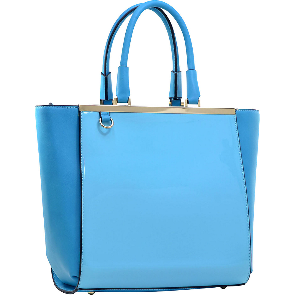 Dasein Gold-Tone Satchel with Shoulder Strap Blue - Dasein Manmade Handbags - Handbags, Manmade Handbags