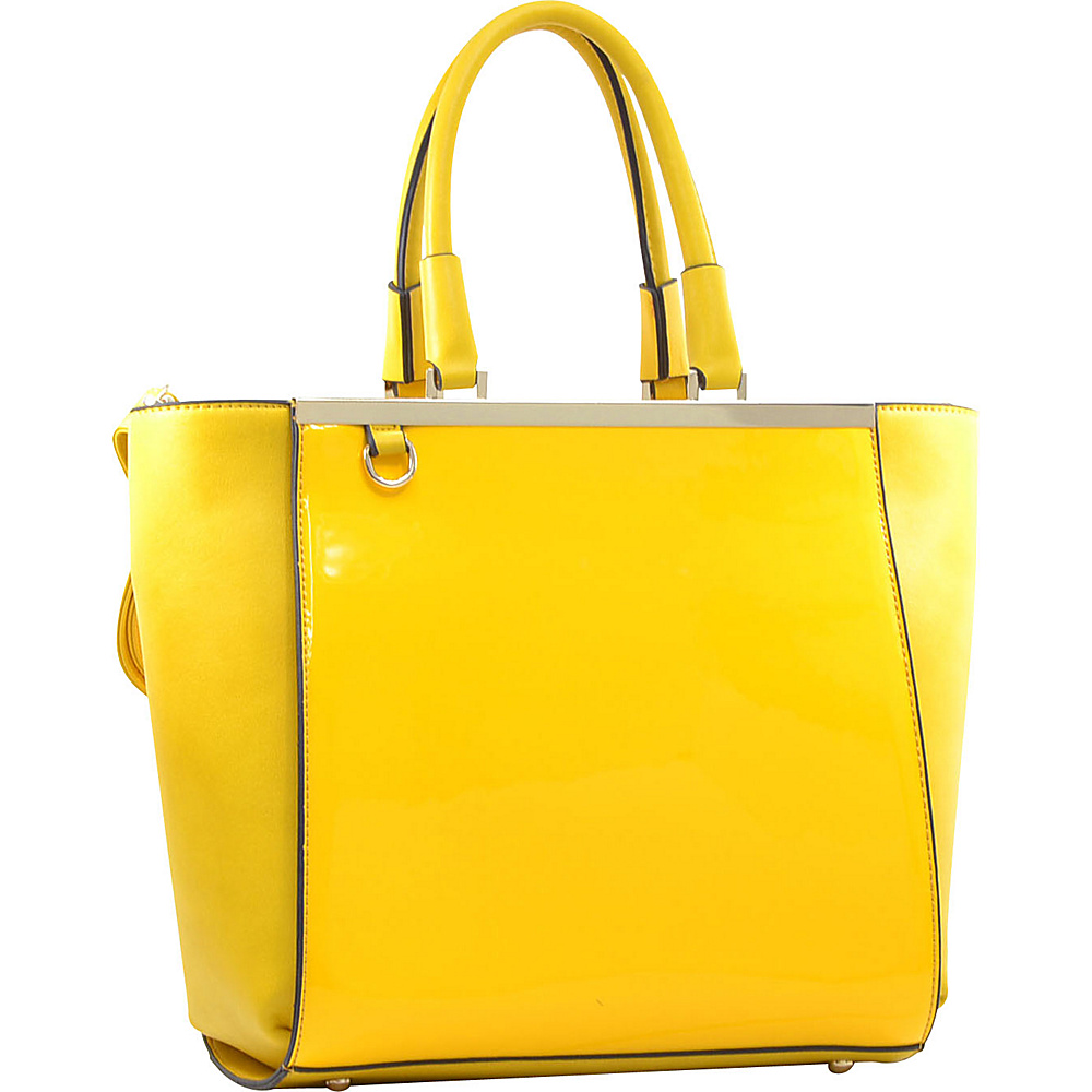 Dasein Gold-Tone Satchel with Shoulder Strap Yellow - Dasein Manmade Handbags - Handbags, Manmade Handbags