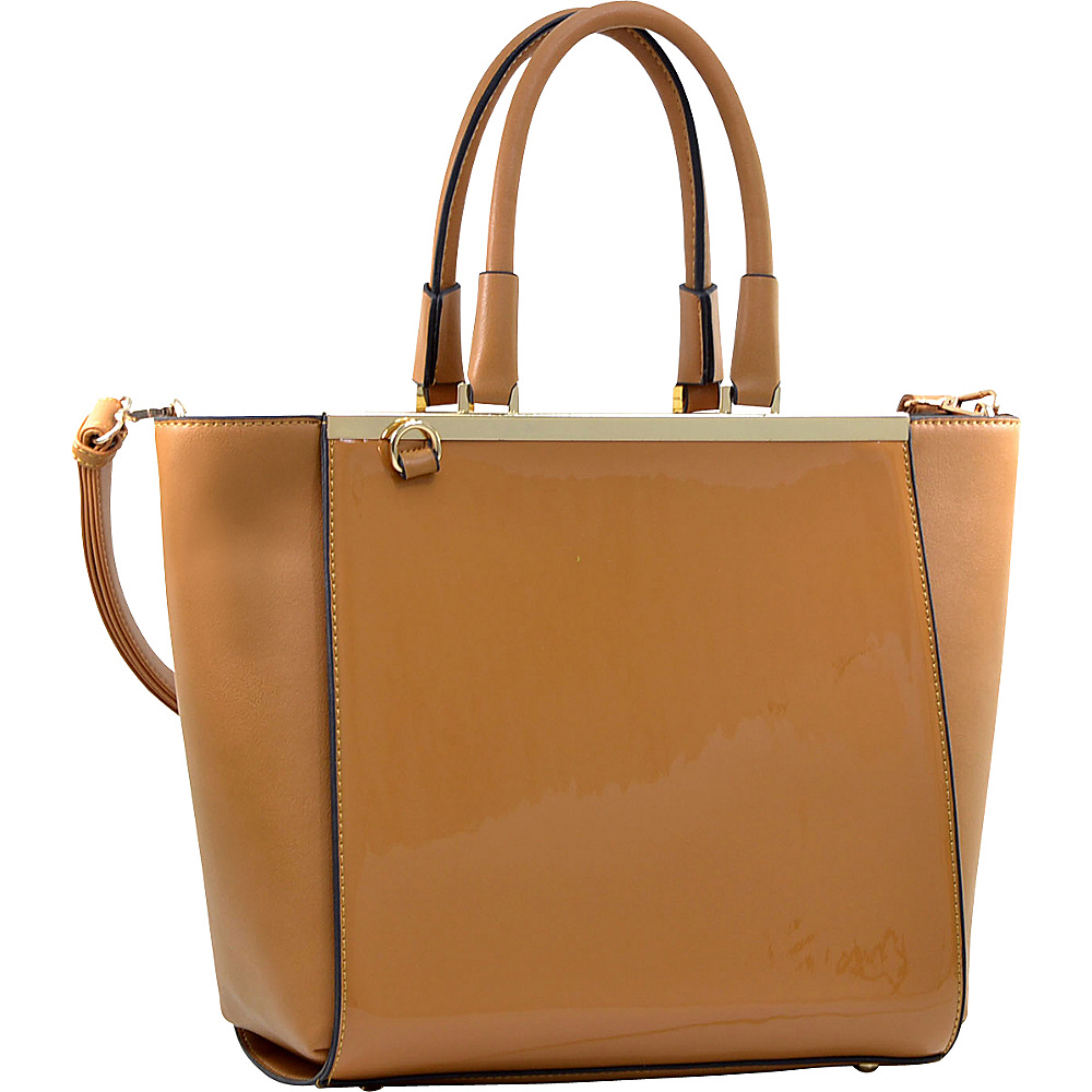 Dasein Gold-Tone Satchel with Shoulder Strap Light Brown - Dasein Manmade Handbags - Handbags, Manmade Handbags