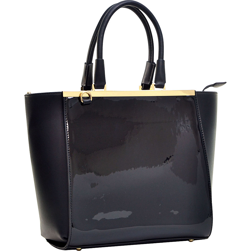 Dasein Gold-Tone Satchel with Shoulder Strap Black - Dasein Manmade Handbags - Handbags, Manmade Handbags