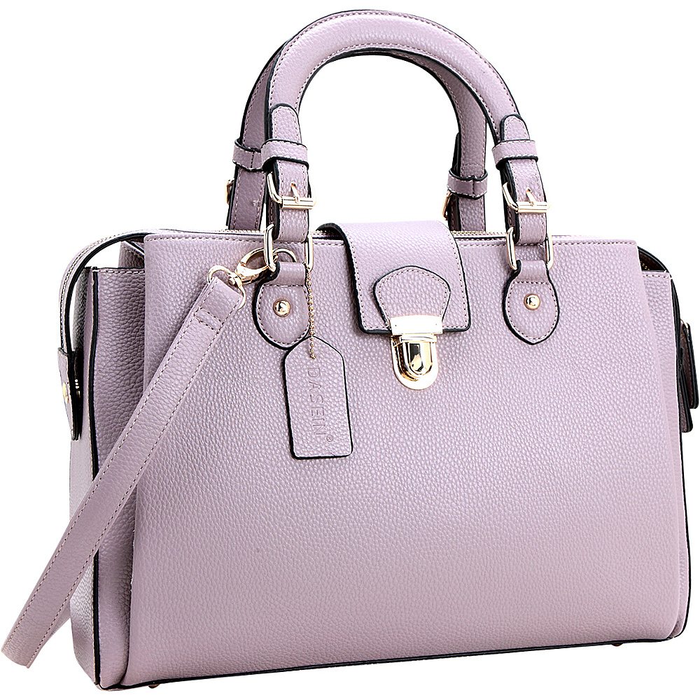 Dasein Satchel with Front Snap Lock Accent Purple - Dasein Manmade Handbags - Handbags, Manmade Handbags
