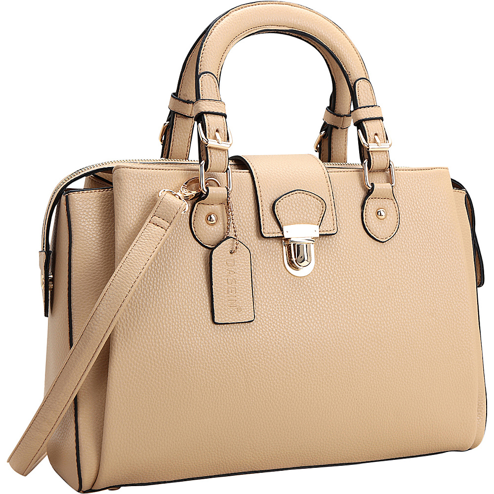 Dasein Satchel with Front Snap Lock Accent Beige - Dasein Manmade Handbags - Handbags, Manmade Handbags