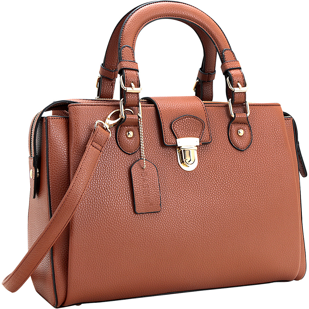 Dasein Satchel with Front Snap Lock Accent Brown - Dasein Manmade Handbags - Handbags, Manmade Handbags