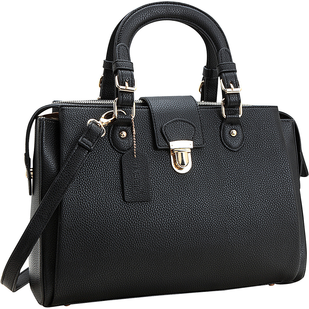 Dasein Satchel with Front Snap Lock Accent Black - Dasein Manmade Handbags - Handbags, Manmade Handbags