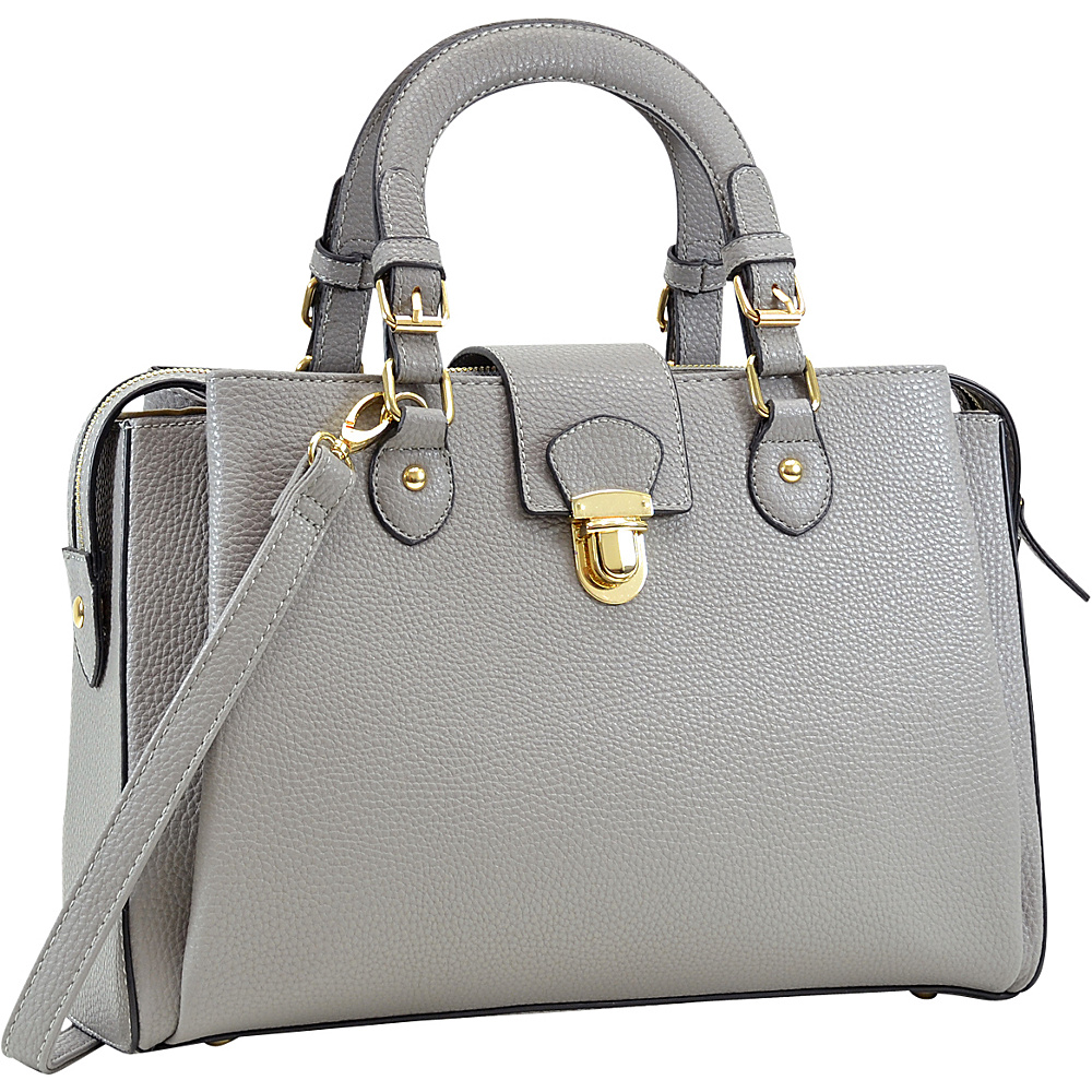 Dasein Satchel with Front Snap Lock Accent Grey - Dasein Manmade Handbags - Handbags, Manmade Handbags