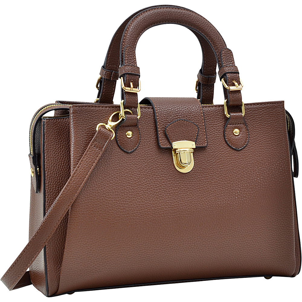 Dasein Satchel with Front Snap Lock Accent Coffee - Dasein Manmade Handbags - Handbags, Manmade Handbags