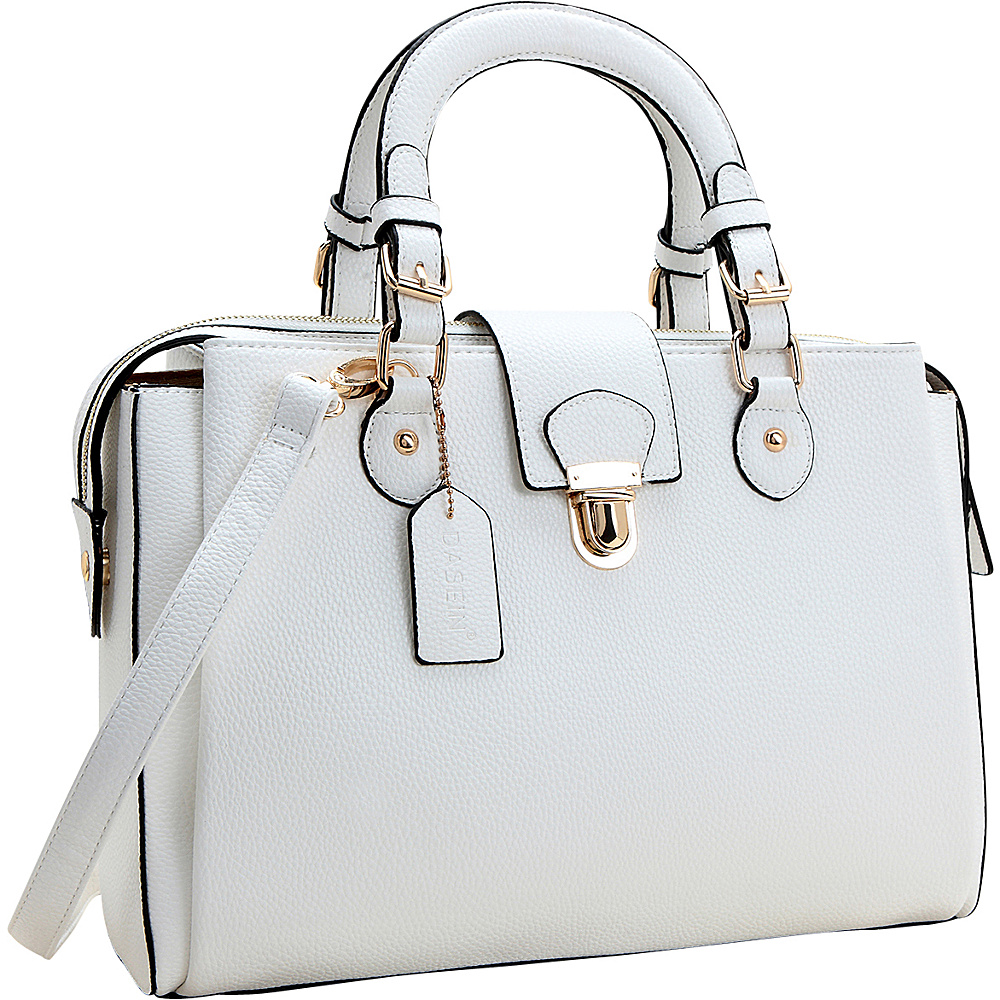 Dasein Satchel with Front Snap Lock Accent White - Dasein Manmade Handbags - Handbags, Manmade Handbags