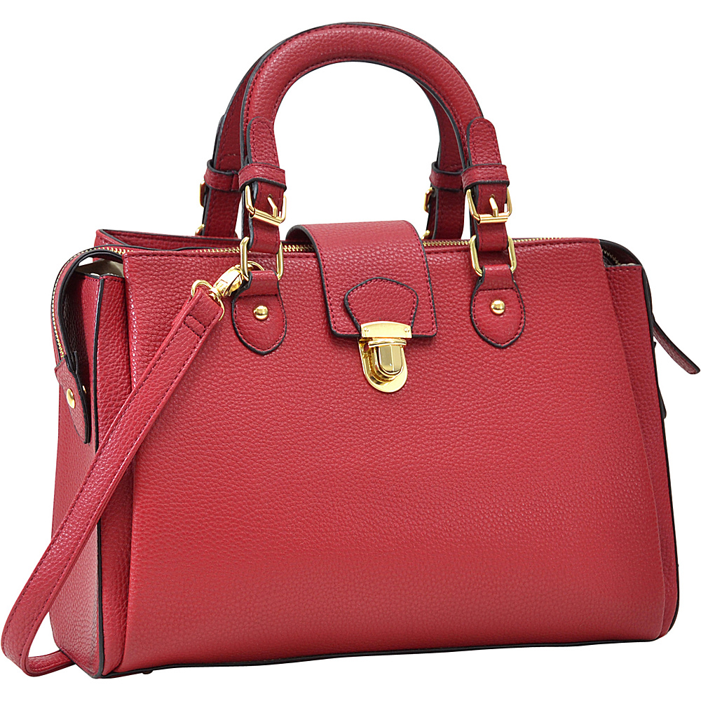 Dasein Satchel with Front Snap Lock Accent Red - Dasein Manmade Handbags - Handbags, Manmade Handbags