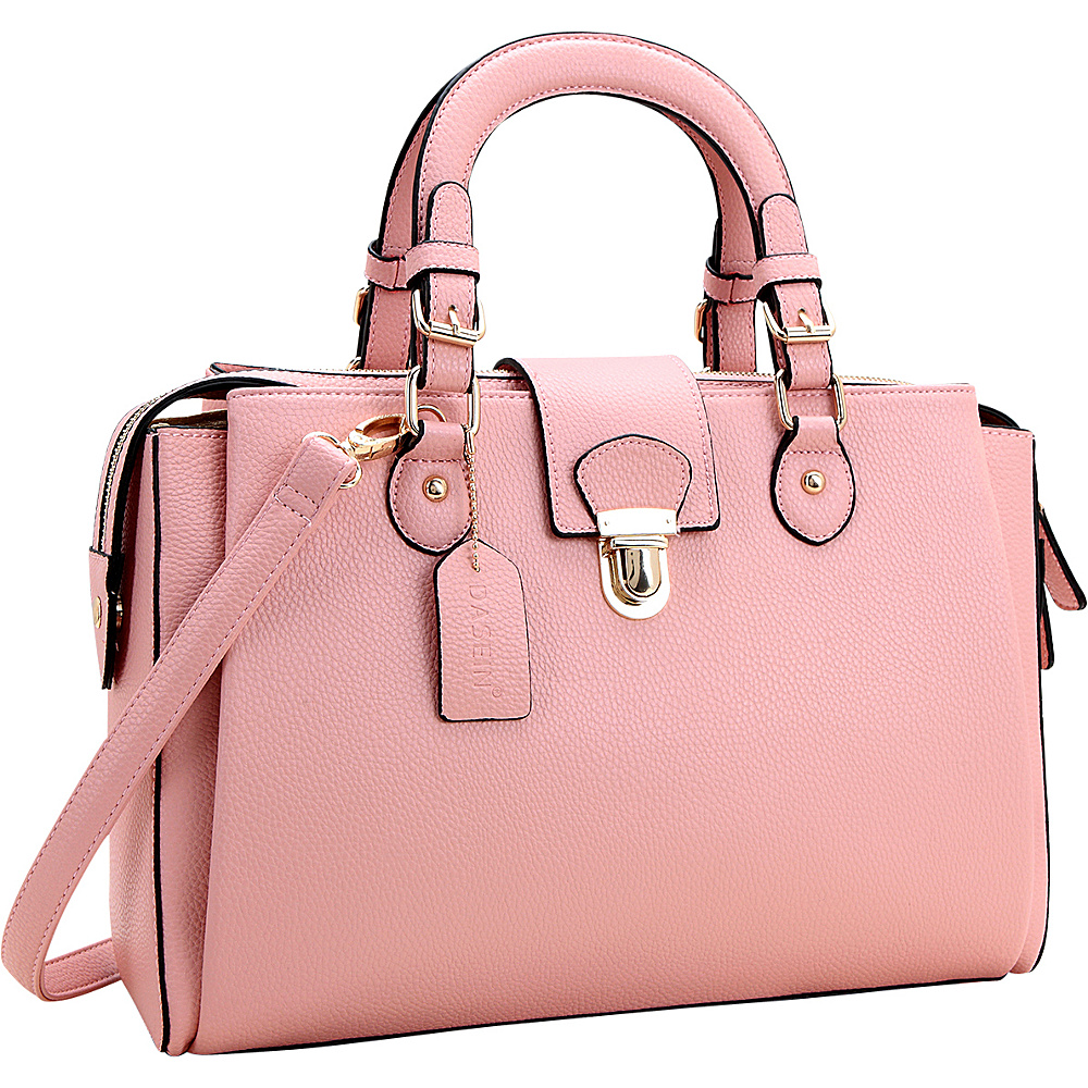 Dasein Satchel with Front Snap Lock Accent Pink - Dasein Manmade Handbags - Handbags, Manmade Handbags