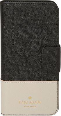 kate spade new york Leather Wrap iPhone 7 Folio Black/Tusk - kate spade new york Electronic Cases