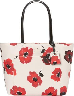 kate spade new york Hyde Lane Poppies Small Riley Tote Rose Dew Multi - kate spade new york Designer Handbags