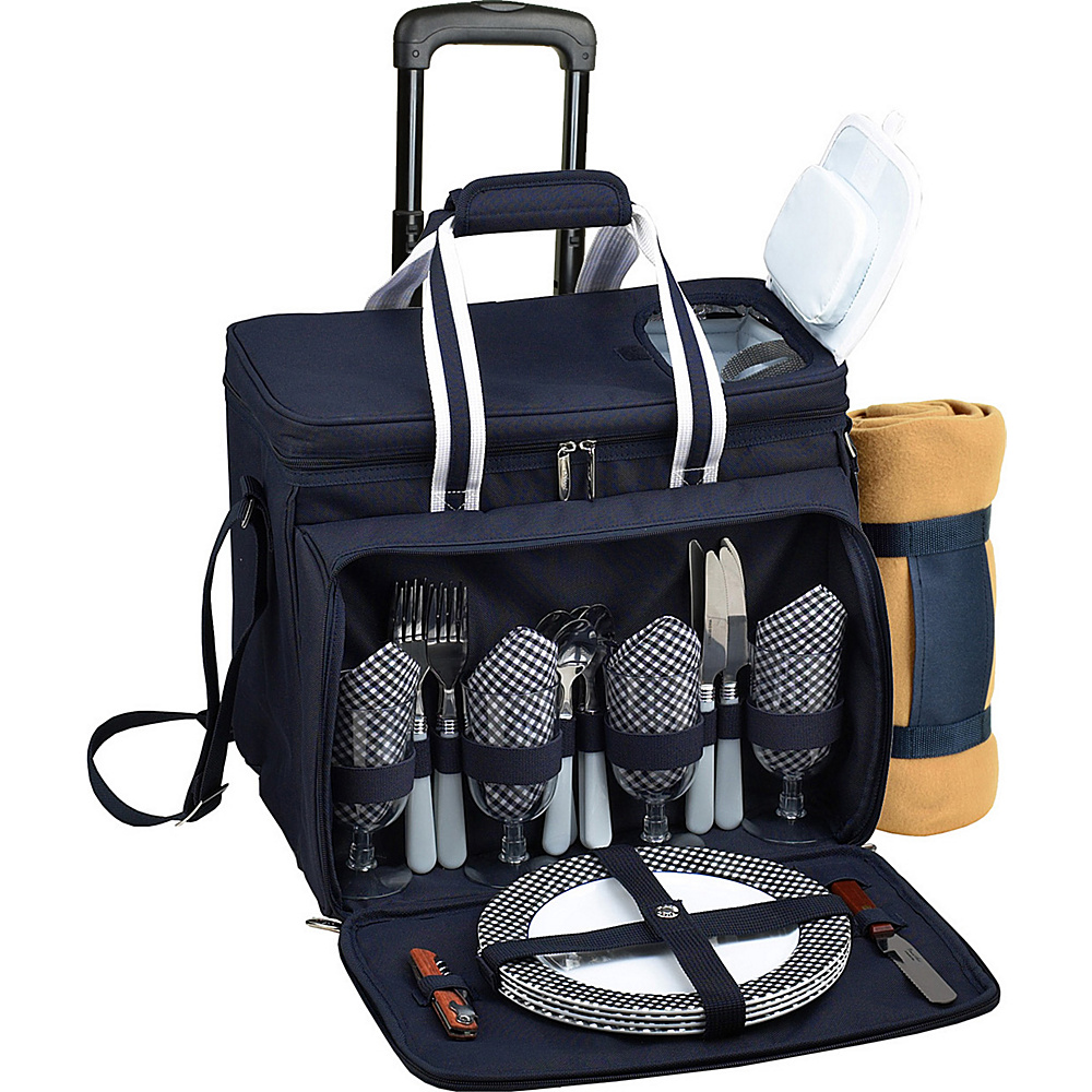 Picnic at Ascot Deluxe Wheeled Picnic Cooler Equipped for 4 with Blanket Navy/White w/Gingham - Picnic at Ascot Outdoor Accessories - Outdoor, Outdoor Accessories