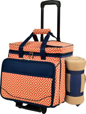Picnic at Ascot Deluxe Wheeled Picnic Cooler Equipped for 4 with Blanket Black w/London Plaid - Picnic at Ascot Outdoor Accessories