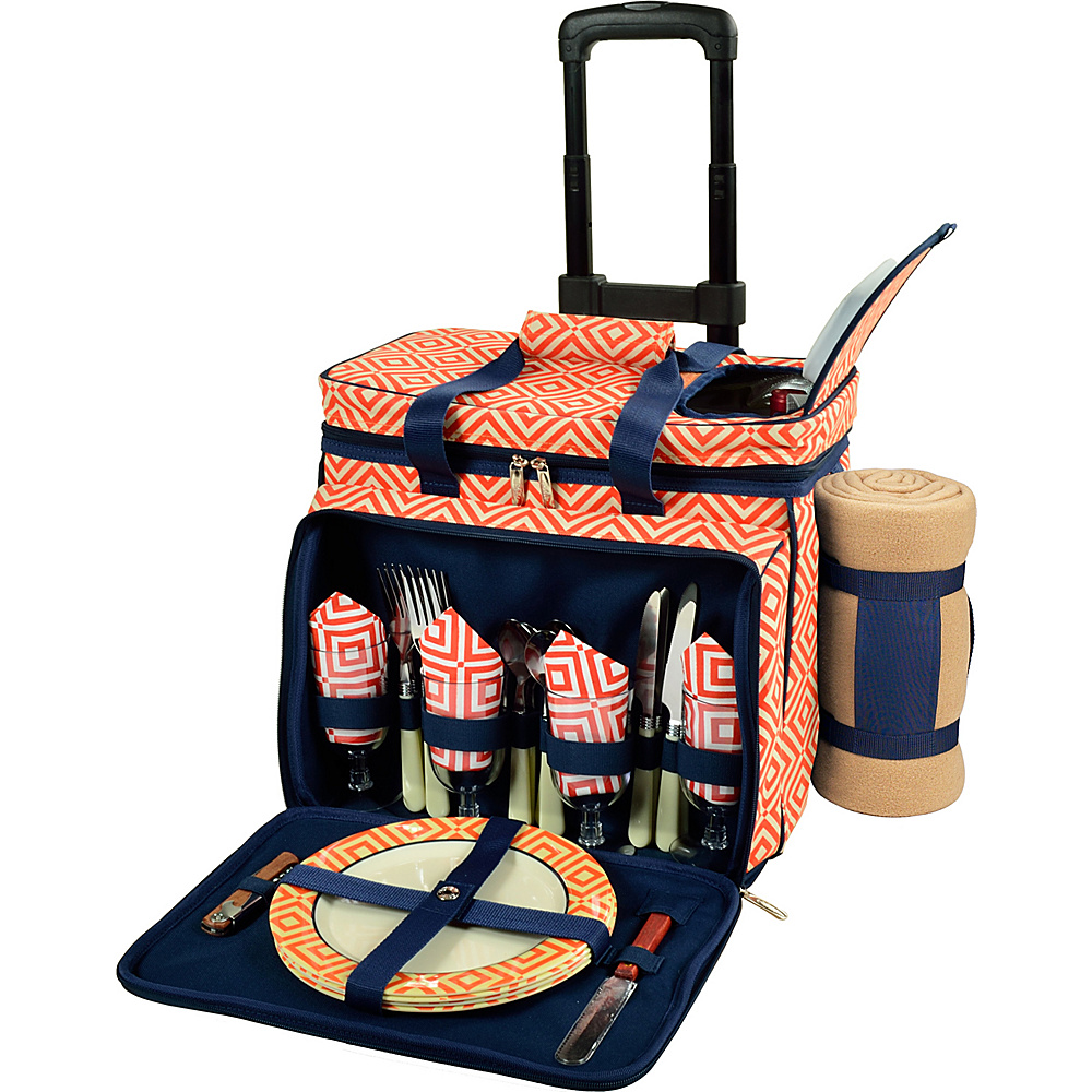 Picnic at Ascot Deluxe Wheeled Picnic Cooler Equipped for 4 with Blanket Orange/Navy - Picnic at Ascot Outdoor Accessories - Outdoor, Outdoor Accessories