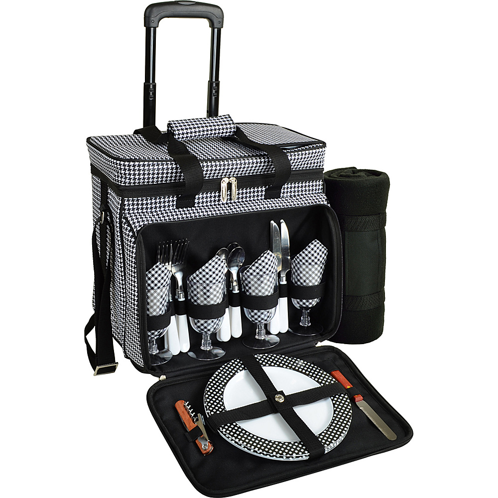 Picnic at Ascot Deluxe Wheeled Picnic Cooler Equipped for 4 with Blanket Houndstooth - Picnic at Ascot Outdoor Accessories - Outdoor, Outdoor Accessories