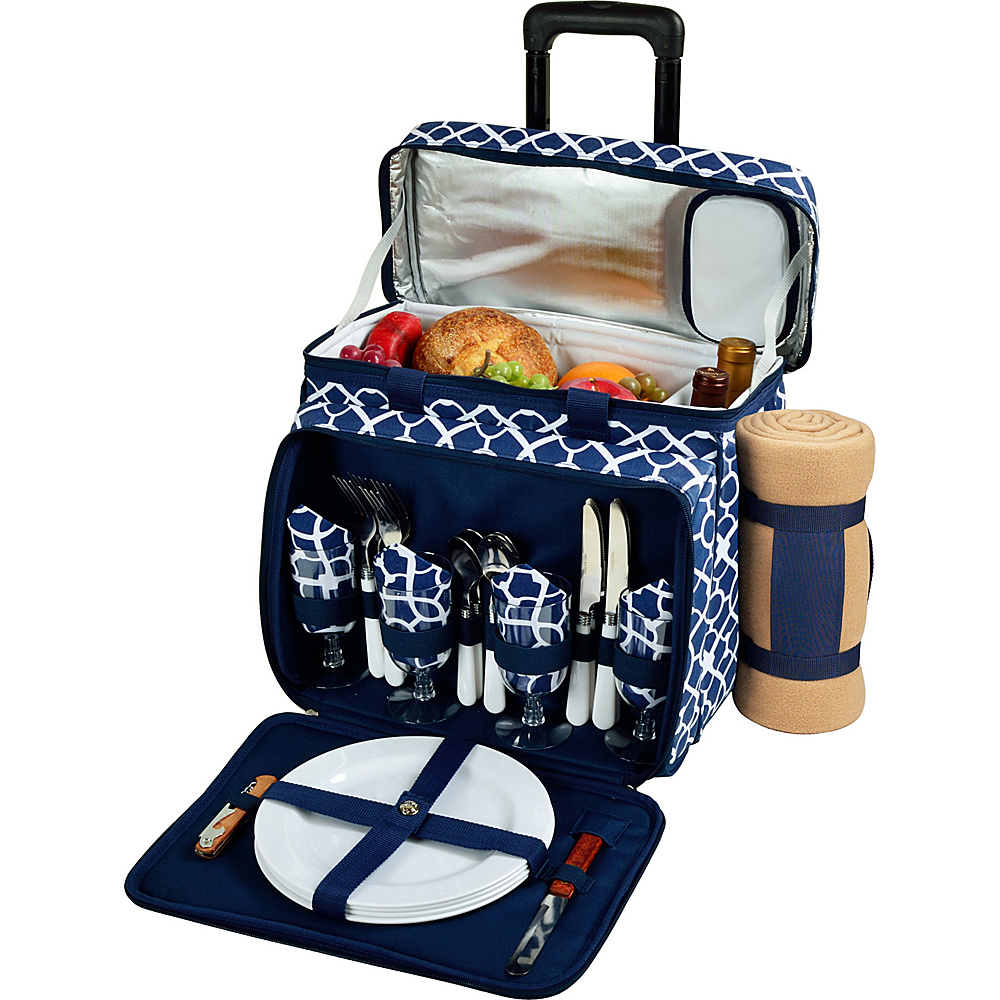 Picnic at Ascot Deluxe Wheeled Picnic Cooler Equipped for 4 with Blanket Trellis Blue - Picnic at Ascot Outdoor Accessories - Outdoor, Outdoor Accessories