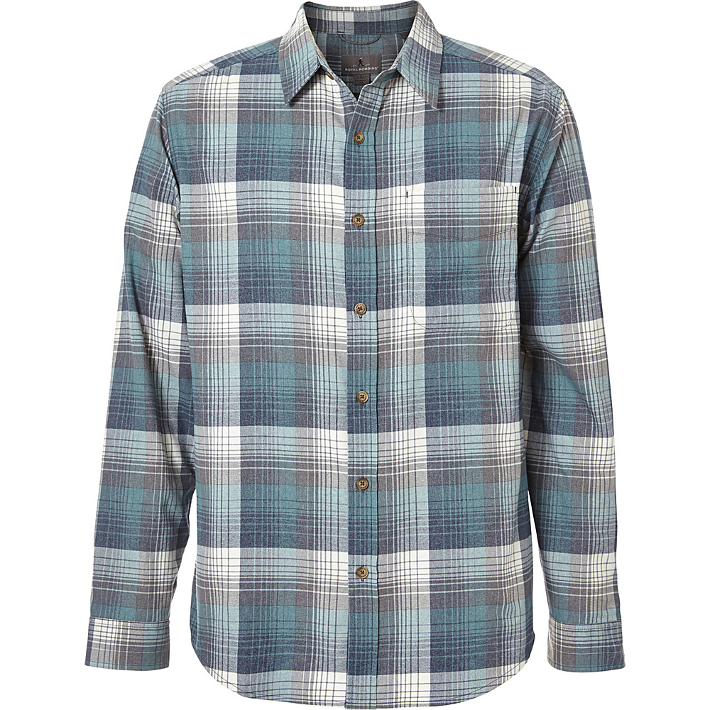 Royal Robbins Mens Vintage Performance Flannel Plaid Long Sleeve Shirt XXL - Slate - Royal Robbins Mens Apparel - Apparel & Footwear, Men's Apparel