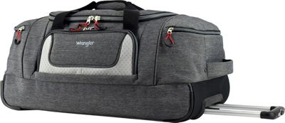 Wrangler 28 inch Multi-Pocket Rolling Duffel Heather Gray - Wrangler Travel Duffels