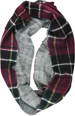 Woolrich Accessories Double Plaid Eternity Scarf Wine - Woolrich Accessories Hats/Gloves/Scarves
