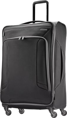 "Image of American Tourister 4 Kix 29"" Expandable Spinner Checked Luggage Black/Grey - American Tourister Softside Checked"
