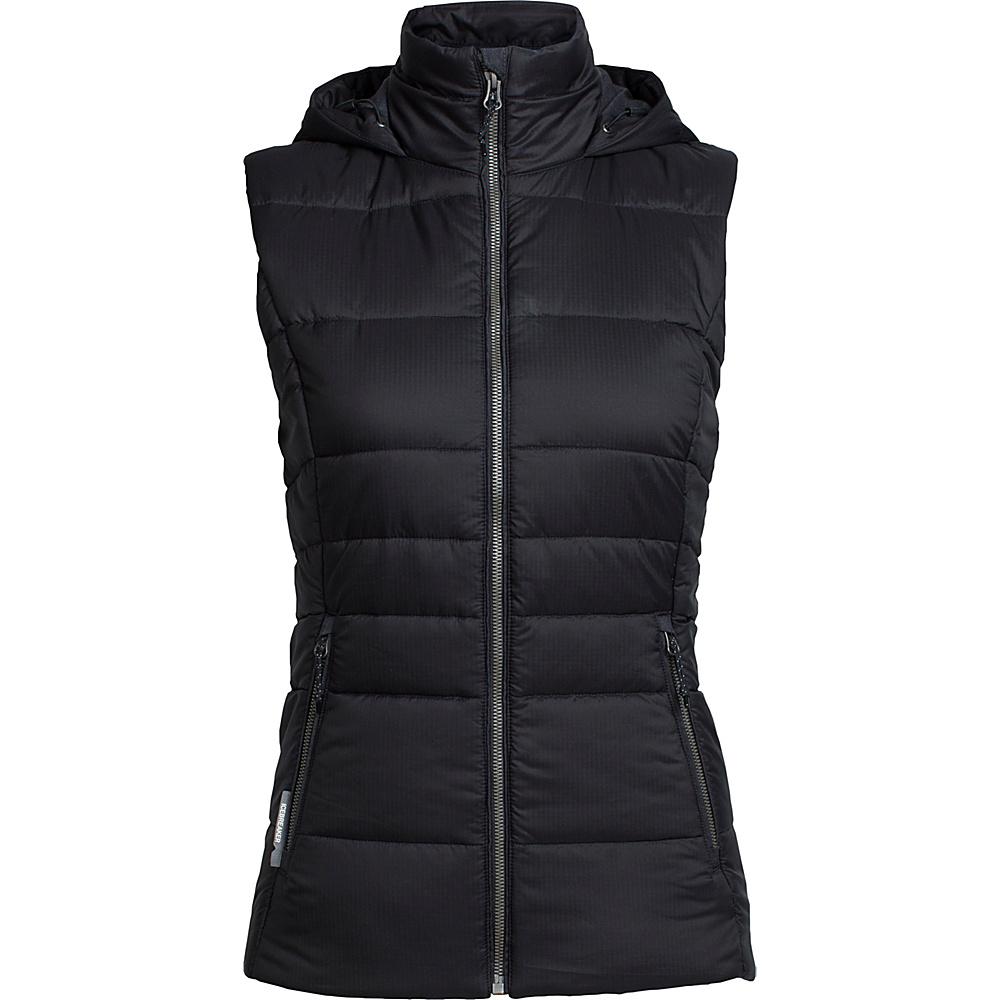 Icebreaker Womens Stratus X Hooded Vest M - Black/Jet Heather - Icebreaker Womens Apparel - Apparel & Footwear, Women's Apparel