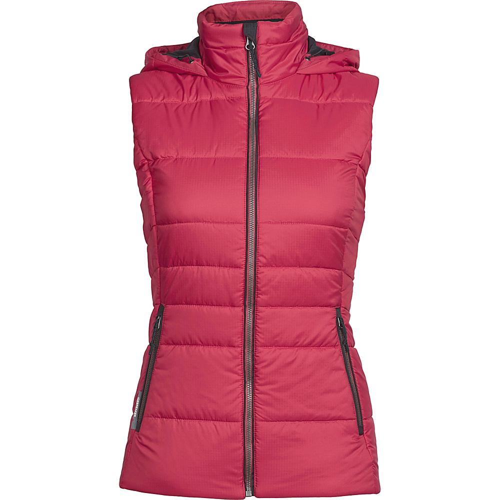 Icebreaker Womens Stratus X Hooded Vest L - Wild Rose/Jet Heather - Icebreaker Womens Apparel - Apparel & Footwear, Women's Apparel