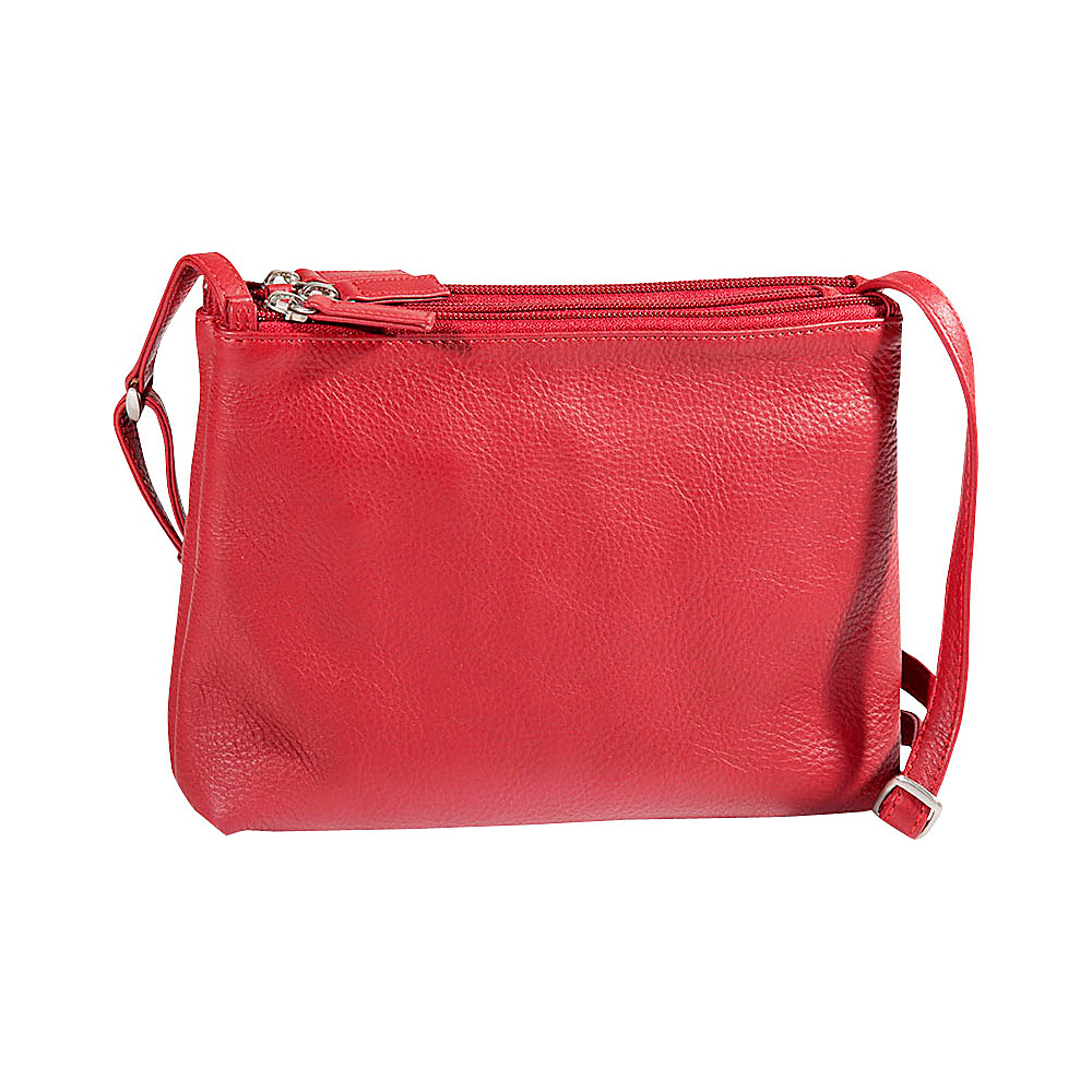 Derek Alexander E W 3 Top Zip Crossbody Red Leather Handbags