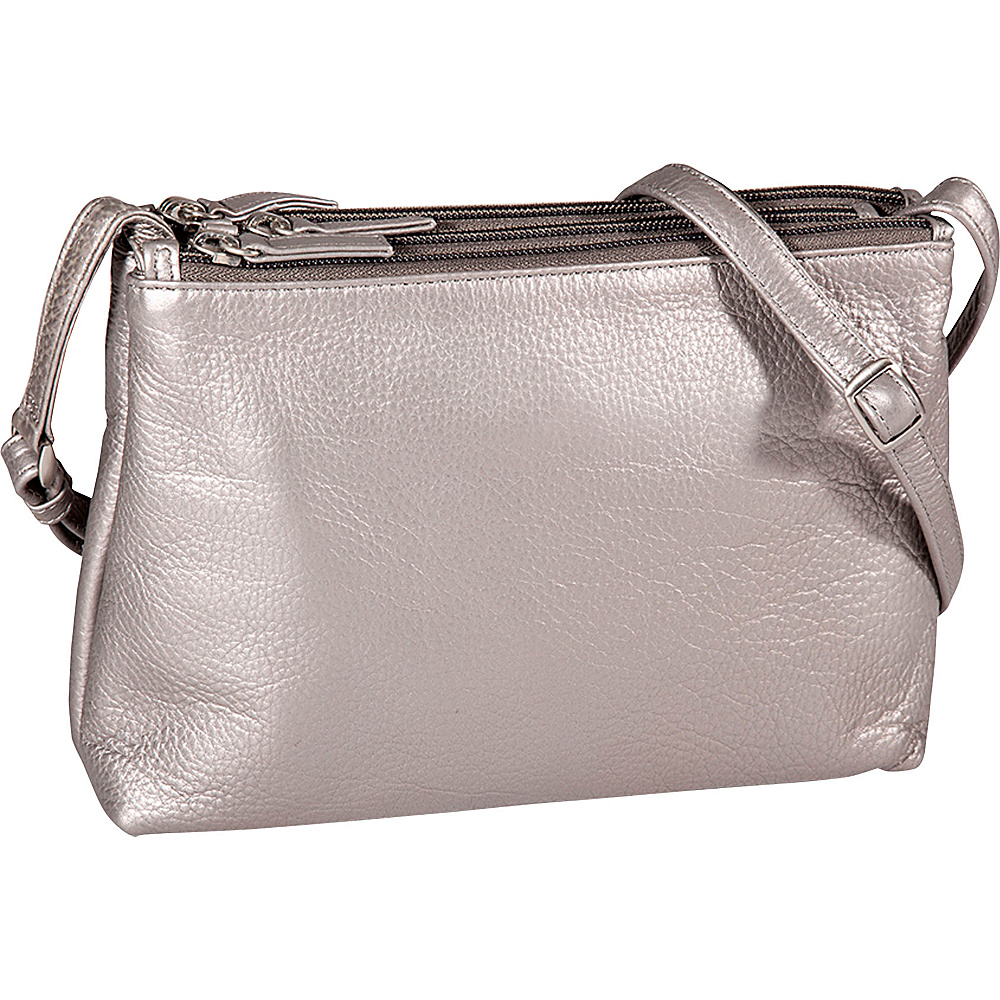 Derek Alexander E/W 3 Top Zip Crossbody Silver - Derek Alexander Leather Handbags - Handbags, Leather Handbags