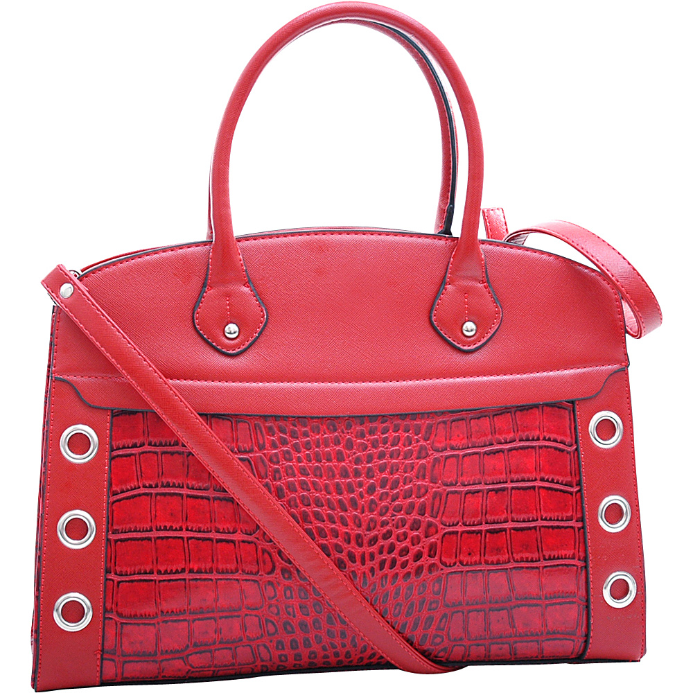 Dasein Grommet Croc Satchel Red - Dasein Manmade Handbags - Handbags, Manmade Handbags