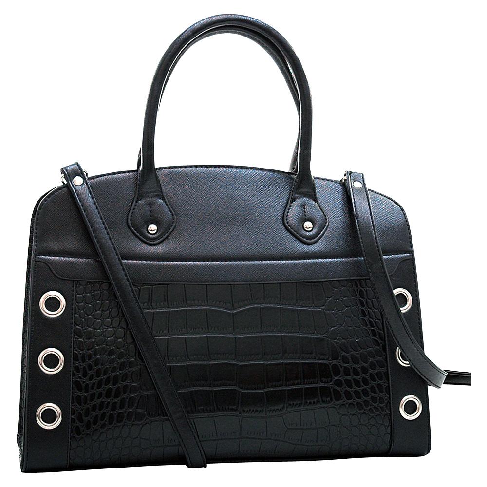 Dasein Grommet Croc Satchel Black - Dasein Manmade Handbags - Handbags, Manmade Handbags