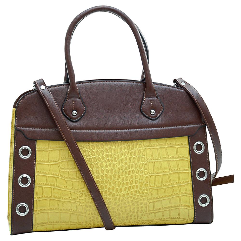 Dasein Grommet Croc Satchel Yellow - Dasein Manmade Handbags - Handbags, Manmade Handbags