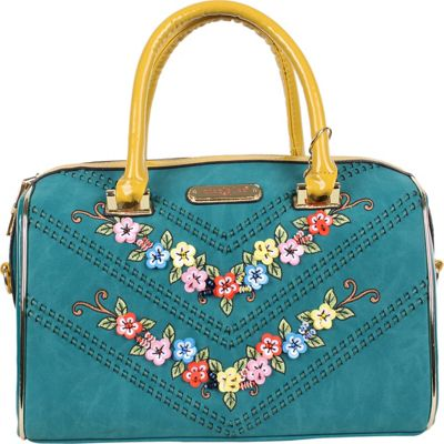 Nicole Lee Iconic Velvet Blossomy Boston Shoulder Bag Blue - Nicole Lee Manmade Handbags